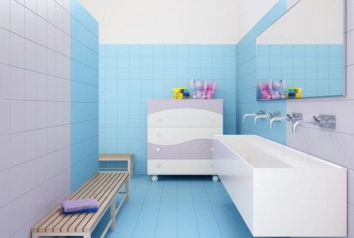 tường màu xanh nên lát gạch màu gì