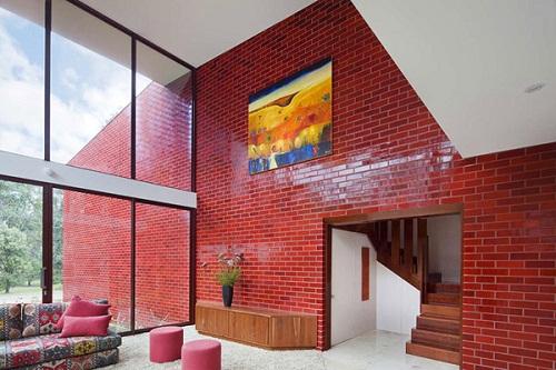 gạch ốp tường màu đỏ 2