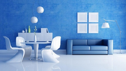 gạch ốp tường màu xanh dương 1