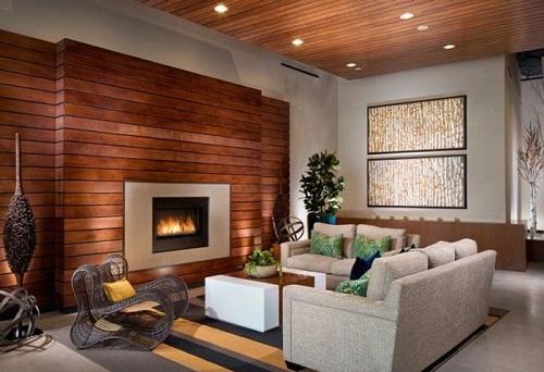 Tại sao nên lựa chọn gạch ốp tường phòng khách giả gỗ?