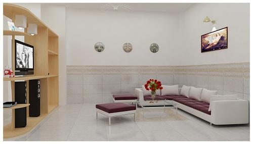 Gạch lát nền vân đá cho phòng khách