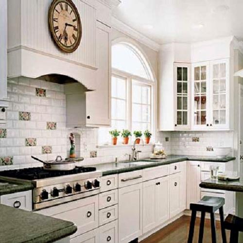 gạch ốp tường bếp màu trắng