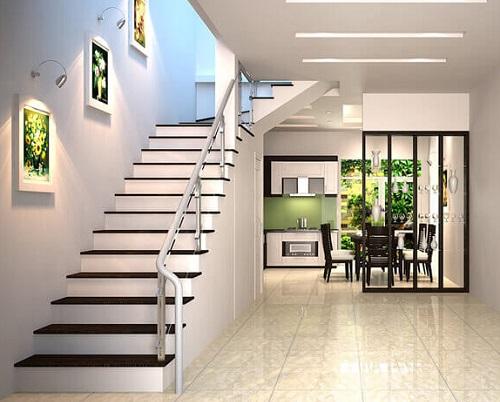 cầu thang nhà ống 2 tầng đơn giản